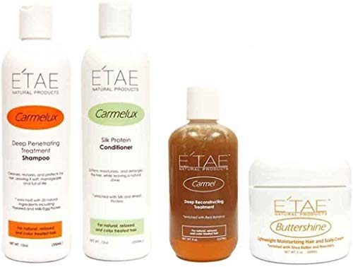 Etae Carmelux Shampoo, Conditioner, E'tae Carmel Treatment, Buttershine Natural Products Combo (4 items) w/ FREE Shower Cap and Comb