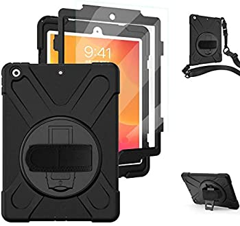 TSQ iPad 10.2 Case 2019 2020/iPad 7th 8th Generation Case with Screen Protector Heavy Duty Shockproof Hard Rugged Protective Kids Case with Hand Strap/Stand/Shoulder Strap for iPad 7th 8th Gen Black