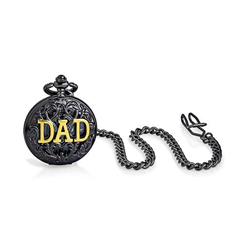 Vintage Style Open Face Two Tone Daddy Father Gift Word DAD Pocket Watch for Men Numeral Skeleton Dial Black Gunmetal Gold Plated Finish with Long Pocket Chain