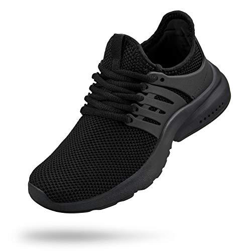 Troadlop Boys Shoes Breathable Lace-up Ahletic Shoes Kids Black Size 3 M US Big Kid