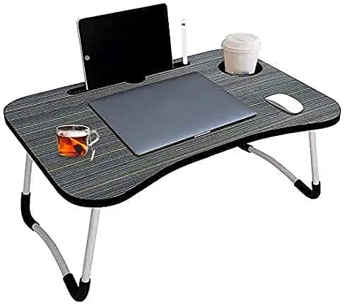 Kartavya Enterprise Multi-Purpose Laptop Table – Foldable Bed Study Table for Children Bed Foldabe Table Work Office Gaming Home with Tablet Slot & Cup Holder Study Table ( Black )