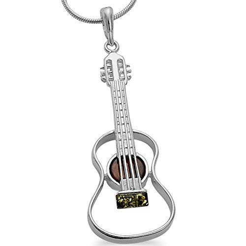 Musikinstrument Kette Bernstein Gitarren XL Anhänger 925 Silber Schmuck Gitarre Kettenanhänger inkl. Schlangenkette 45cm mit Spruch #1645