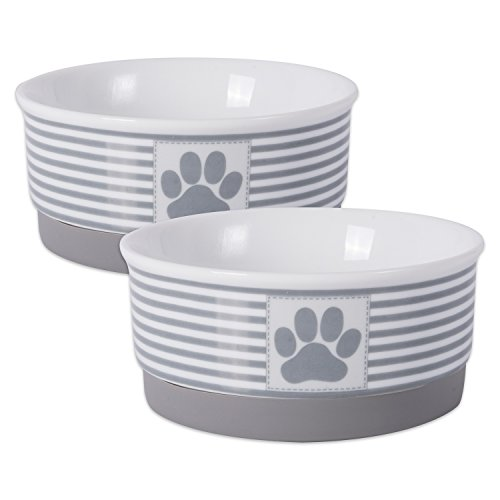 "Bone Dry Paw Patch & Stripes Ceramic Pet Bowl & Canister Collection, Small Bowl Set - 4.25 x 4.25 x 2"", Gray, 2 Piece"