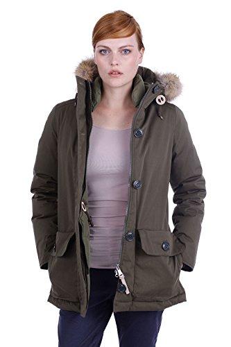 Holubar dames donsjack Oregon - hoogwaardige parka winterjas donsparka met echt bont in donkergroen/military olijf
