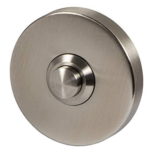 JUVA Klingelplatte Edelstahl Tür-Klingel rund für Eingangstür - H6641 | Klingel mit Drucktaster | Klingeltaster Edelstahl matt gebürstet | Ø 52 mm | 1 Stück - Design Türglocke mit Befestigungsmaterial