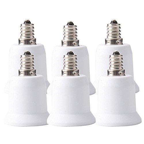 JACKYLED 10-Pack E12 to E26 / E27 Adapter - Converts Chandelier Socket (E12) to Medium Socket (E26/E27)