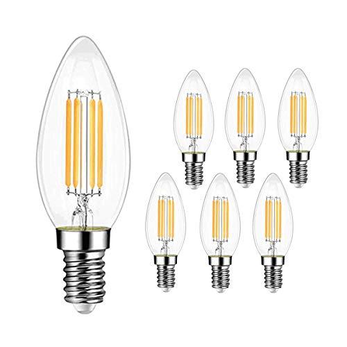 ExtraStar E14 750Lm Kerze LED Lampe,6W ersetzt 60W Halogenlampen,220-240V, 3000K Warmweiß, C35 Classic Glühfaden kerzenlampe, Nicht Dimmbar, 6 Stück