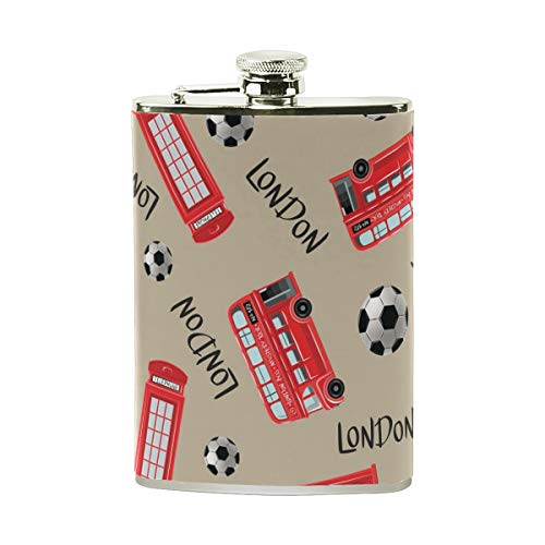 TIZORAX London Bus Voetbal RVS Hip Flask, Pocket Flagon,Camping Wijnpot, Gift voor Mannen of Vrouwen, 8 Oz
