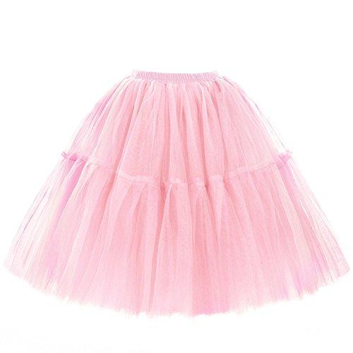 Babyonline Damen Tüllrock 5 Lage Prinzessin Kleider Knielang Petticoat Ballettrock Unterrock Pettiskirt Swing One Size - Rosa