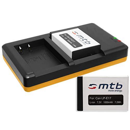 2 Batterie + Caricabatteria doppio (USB) per LP-E17 / Canon EOS 77D, 200D, 750D, 760D, 800D / EOS M3, M5, M6 (SENZA indicazione del tempo rimanente di ripresa!)