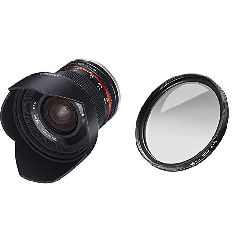 Samyang 12mm F2.0 Objektiv für Sony E Weitwinkel Objektiv Festbrennweite manueller Fokus Objektiv für Sony E-Mount APS-C Kameras schwarz & Walimex Pro Polfilter zirkular Slim 67 mm (inkl.Schutzhülle)