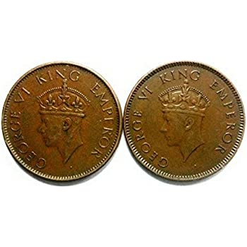 Bristish India Quarter Anna First Head and Second Head King George VI 1940 and 1939 @ coinstamp.in