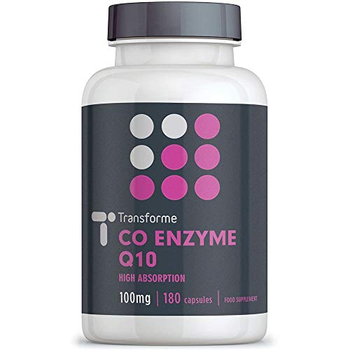 CoQ10 100mg 180 Capsules, High Absorption High Strength Coenzyme Q10 Liquid Softgels, 6 Months Supply, Naturally Fermented, UK Made, Gluten Free, by Transforme