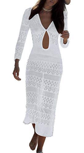 ZIYYOOHY Damen Sexy Strandkleid Stricken Spitze Maxikleid Sommerkleid Lace Bikini Kleid Strandponcho Mit Trompetenärmel (One Size, 7027 Weiß)