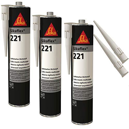 Sika Flex-221 - Sellador adhesivo resistente a la intemperie, 300 ml, color gris claro, 3 juegos con 5 boquillas