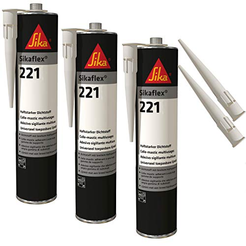 Sikaflex-221 witterungsbeständiger Haftstarker Dichtstoff, 300ml, Hellgrau, 3 Set mit 5 Düsenspitzen