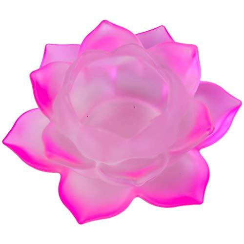 Porte Bougie rose Lotus en verre