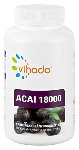 Vihado Acai 18000 MAXIMUM - hochdosierter original Acai-Beeren Extrakt, 150 Kapseln