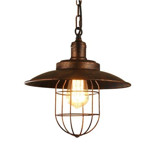 American Industrial Loft Metal lustre Vintage rouille couleur plafond pendentif lampe restaurant bar comptoir restaurant salon bureau suspension Light E27