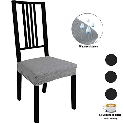Stretch Dining Room Chair Seat Covers 4 Pack with Elastic Ties and Button, Waterproof Removable Washable Jacquard Anti-Dust Chair Cushion Furniture Protector Slipcovers, for Hotel/Office/Party, Grey
