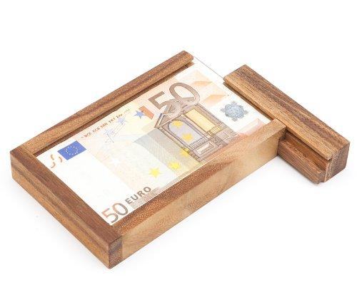 Casa Vivente - Magische Geldgeschenkbox - Knobelspiel aus Holz - Geschenkverpackung mit Trickverschluss - Geduldspiel als Originelles Geburtstagsgeschenk - Verpackung für Geldgeschenke