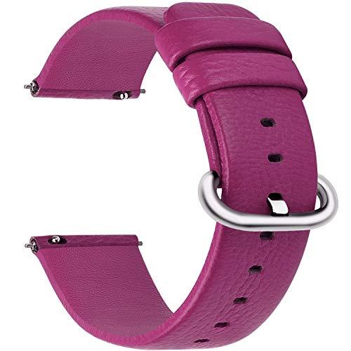 Fullmosa 22mm Uhrenarmband in 12 Farben, Kalbsleder Armband für Damen Heren Lederarmband mit Edelstahl Metall Schließe, 22mm,Rosig