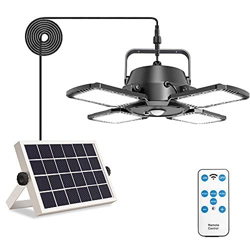 Aqonsie - Lámpara colgante solar para exteriores, 1000 lm, 128 LED, luz solar, 4 hojas, 120°, sensor de movimiento solar ajustable con control remoto y 4 modos de iluminación para cobertizo, granero, garaje o casa