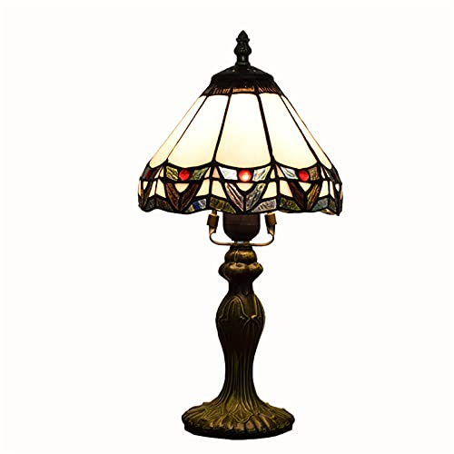 QJUZO 8 Inch Vintage Tiffany Table Lamp, Art Deco Tiffany Nightstand Light with Stained Glass Shade, Bedside Lamp E27 Desk Lamps for Living Room Bedroom Office Bar Night Light