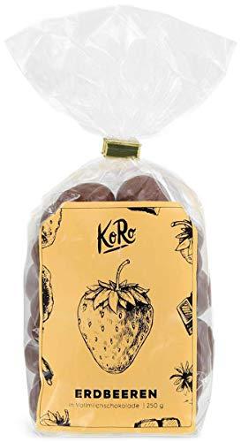 KoRo - Gefriergetrocknete Erdbeeren in Vollmilchschokolade 250 g - Schokofrüchte als süßer Snack