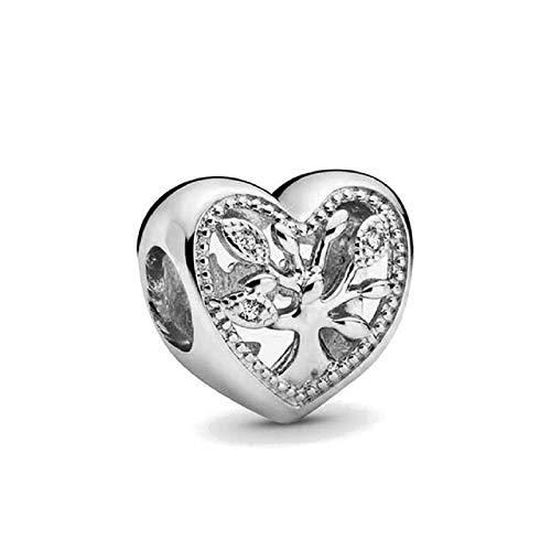 Desconocido JCaleydo – Albero della vita a forma di cuore in argento Sterling 925, con scatola regalo, compatibile con bracciale Pandora