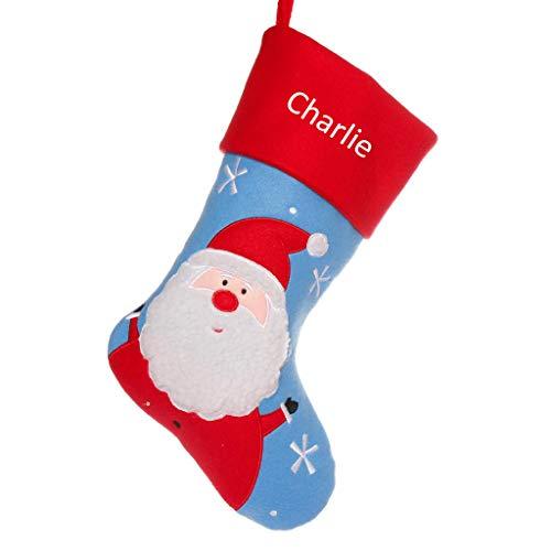 Dibor Calcetín de Navidad con Bordado Personalizado Hombre o Mujer, diseño de Reno, Santa, H41 x W25cm