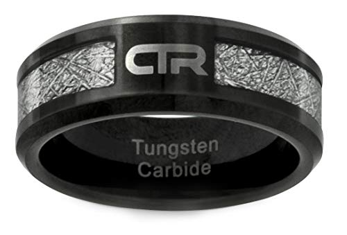 One Moment In Time J194 Mormon LDS Unisex CTR Ring Cosmos Tungsten Carbide with Imitation Meteorite Inlay Size 12