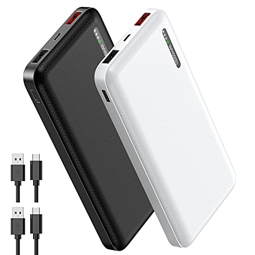 2 Pack: Powerbank 10000 mAh, Evary PD 18 W Tri-Outputs (total 5.8 A) - QC 3.0 USB C/A External Battery Power Bank with 4 Ports Portable Charger for Mobile Phone iPhone Samsung Huawei Tablet and More