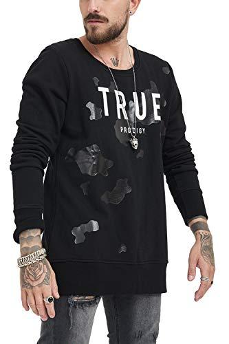 trueprodigy Casual Herren Marken Sweatshirt Einfarbig Logo Oberteil Cool Stylisch Rundhals Langarm Slim Fit Sweatshirt Männer, Farben:Schwarz, Größe:XXL