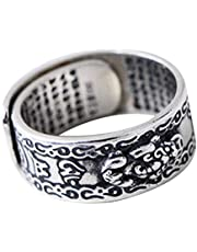 Leobtain Land Men Pi Xiu Charms Open Ring Feng Shui Amulet Wealth Lucky Open Adjustable Ring Buddhist Jewelry Gifts