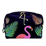 Neceser de Maquillaje para Neceser Estuche de Viaje cosmético Organizador Estuche para cosméticos Monedero,Flamingo pájaro y Hojas de Palma