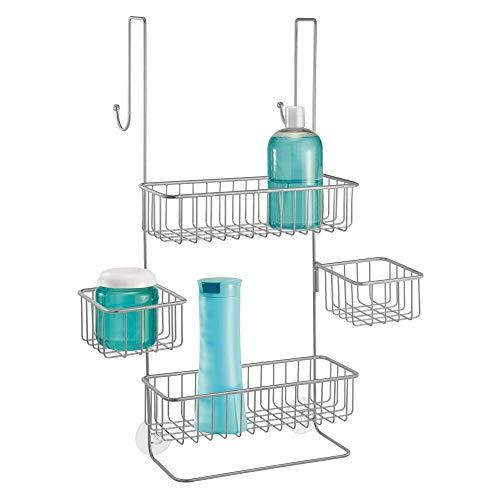mDesign Duschregal ohne Bohren – Duschablage mit Haken und Körben für Shampoo, Duschgel, Waschlappen etc. – praktische Aufbewahrung für Duschzubehör aus Metall – silberfarben