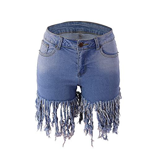 Pantalones cortos de mezclilla para mujer moda sexy lavado Streetwear tendencia personalidad casual, Azul claro, XL