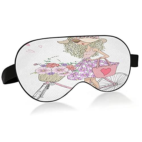 Masque de sommeil mignon fille et fleurs dans un panier de vélo Masque pour les yeux pour dormir fille mignonne et fleurs dans un panier de vélo Masque de sommeil pour dormir