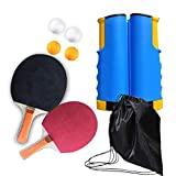 LOAER Conjunto de Ping Pong Set PortáTil con 2 Raquetas 4 Pelotas 1 Red RetráCtil 1 Bolsa,de paletas de Ping Pong con Red retráctil, Pelotas y Postes para Viajar a casa Jugar