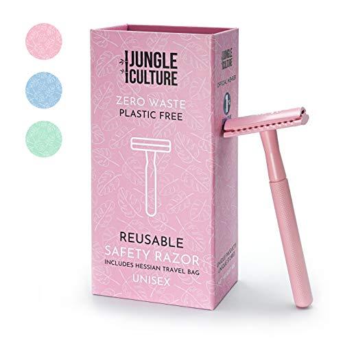 Jungle Culture® Maquina de Afeitar Para Mujer | Rasuradora Clásica Compatible Con Cuchillas de Doble Filo | Maquina de Afeitar Ecológica de una Sola Hoja Para Cuerpo y Rostro, Belleza Sin Desperdicio