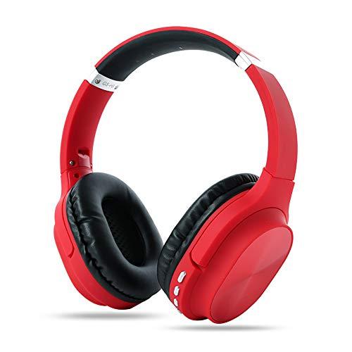 RYRA Auriculares inalámbricos Bluetooth 5.0, GS-H8 plegables con micrófono, Hi-Fi Stereo Soft Memory Protein Earpuffs para el hogar, oficina en línea, soporte para tarjeta TF rosso