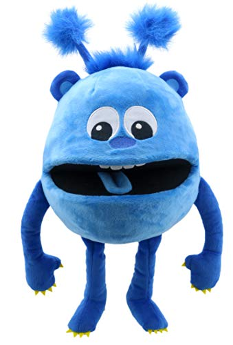 Lashuma Kuscheltier Handpuppe Blau, Baby Monster Theaterhandpuppe 32 cm, Plüschpuppe Kuschelmonster für Puppentheater