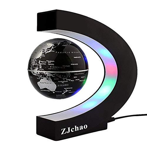 Yosoo C Forma Fluttuante Globo 4'' con LED Luci Magnetico Campo Levitazione Istruzione Globo per Casa Ufficio Decorazione Idee Regalo - Nero