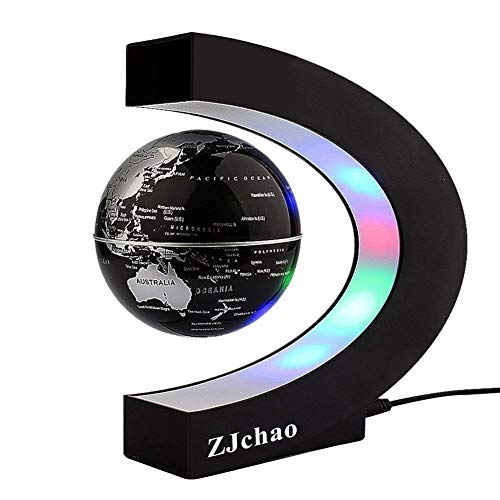 ZJchao Luminous Magnetic Floating Earth Globe Levitation Globe Luces LED con base en forma de C Decoraciones para el hogar y la oficina (1#)