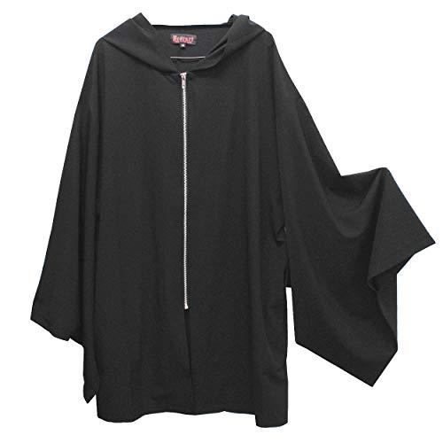 【Deorart ディオラート】着物袖 ジップアップパーカーカーディガン DRT2545 (ブラック, L)