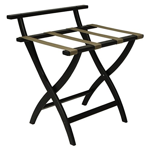 Best Deals! Wooden Mallet WallSaver Luggage Rack,Tan Straps, Black