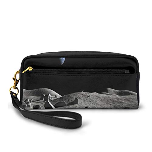 Pencil Case Pen Bag Pouch Stationary,Earth Seen from The Moon Space Debris Vast Universe Day and Night Cycle Photography,Small Makeup Bag Coin Purse