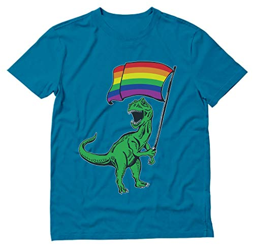 T-Rex Rawr Pride Parade Gay & Lesbian Rainbow Flag T-Shirt Large Aqua