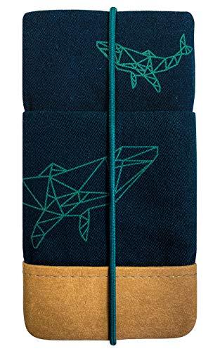 Kuratist Handytasche – Kompatibel mit iPhone 12/12 Pro und Max/11/11 Pro Max/XS Max/XR, Galaxy A51/S20+/S10+ - Handgemacht aus Premium Baumwolle & Papier-Latex - 100prozent vegan – Whale Dark